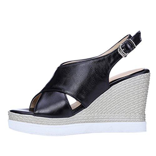 Dear Time Women Platform Wedges Gladiator Mule Sandals Black anewtJ5