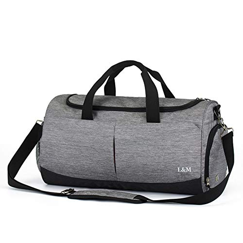 Large-Capacity Fitness Bag, Waterproof Sports Travel Sandbag with Shoe Cabinet and Wet and Dry Split Pocket 36-55L/7.91-12.09gallon (Gray)