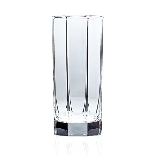 Highball Drinking Glass Clear Tall Bar Ware with Heavy Base for Cocktails Juice 11 oz Set of 6 Gift For Him ()