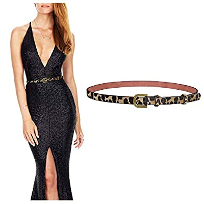 Women's Leopard Print Belt Ladies Skinny Belt for Dress Jeans Pants Waist Belt with Alloy Buckle By JASGOOD