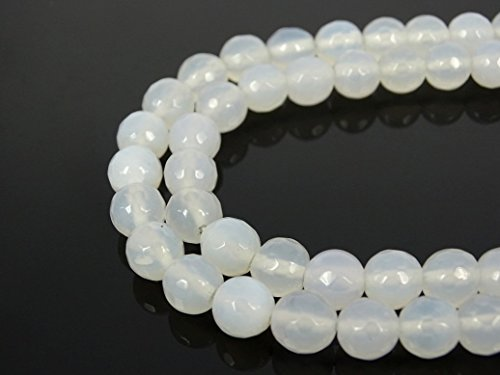 jennysun2010 Natural White Agate Gemstone 8mm Faceted Round Loose 50pcs Beads 1 Strand for Bracelet Necklace Earrings Jewelry Making Crafts Design Healing