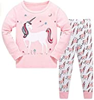 Cindya Unicorn Pajamas Set Little Girls 2 Pieces Clothes Long Sleeve Sleepwear Children Home Clothing Unicorn