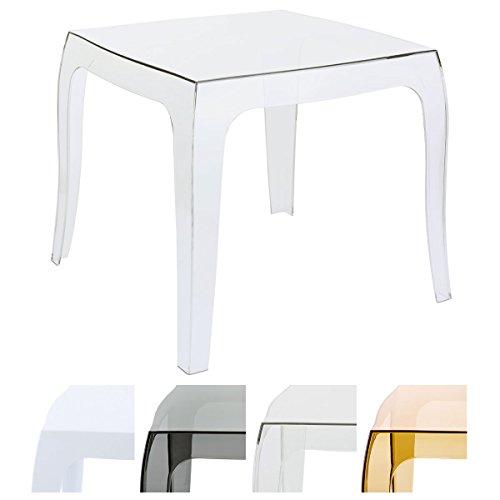 CLP Table d'appoint QUEEN de haute qualité, table design, plastique, 50 x 50 cm (environ), empilable transparent