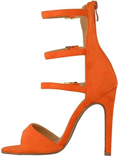 Calaier Mujer Casunshine Tacón De Aguja 12CM Sintético Hebilla Sandalias de vestir Zapatos Naranja