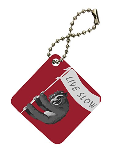 Sloth Pirate Live Slow Flag Banner Red Background Diamond Keychain By Moonlight Printing -