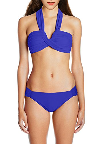 ebuddy Women's Goddess Bandeau Bikini Set Include Top and Bottom,Deep Blue-Tag 4