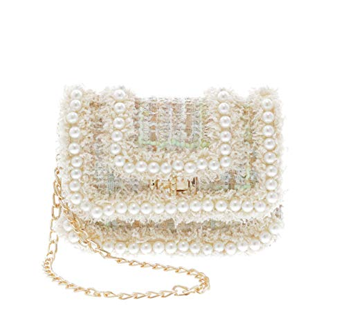 - Little Who Pearl Detailing Tassels Tweed Crossbody Purse   Pretend Play Purse   Free Hair Clip   Multi Color   One Size   for Kids, Toddler, Teenage Girls, Bolsa para Ninas (Ivory)