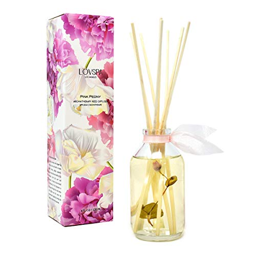 (LOVSPA Pink Peony Reed Diffuser Gift Set | Made with Essential Oils & Real Flowers! Elegant & Sophisticated Home Decor | Great Gift Idea)
