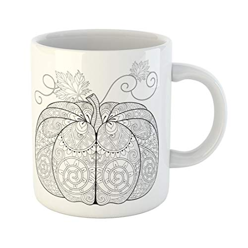 Tarolo 11 Oz Mug Coffee Mug Ceramic Tea Cup Zentangle Pumpkin for Thanksgiving Day Halloween Freehand Sketch Adult Anti Stress Coloring Page Autumn Doodle Large C-handle Family and Office Gift