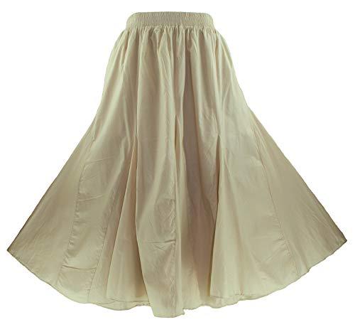 Batik Cotton Skirt - Beautybatik Oat Cotton Boho Gypsy Long Maxi Godet Flare Skirt 2X
