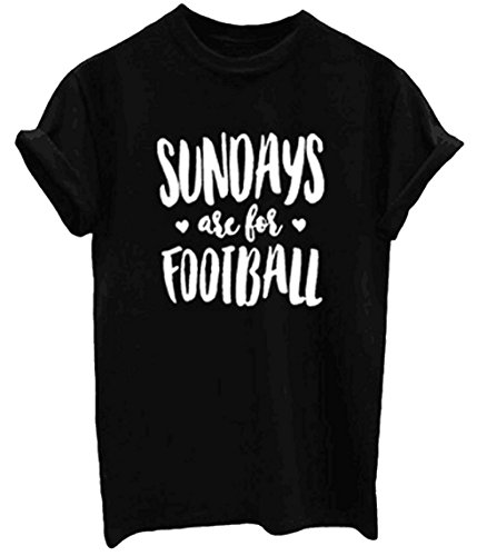 Football Print T-shirt (Women Short Sleeve Sundays Are for Football Letter Print Cute Funny T-shirt Tee size XL (Black))