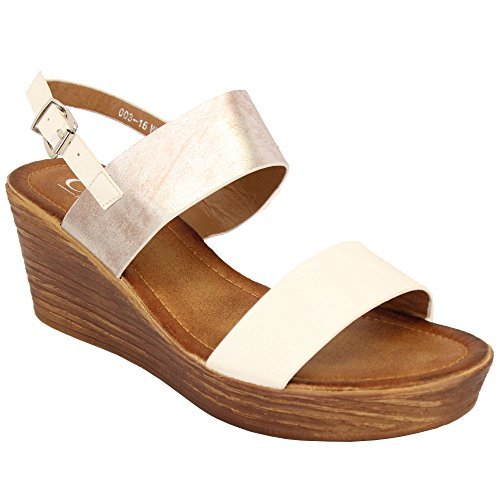 MCM Ladies Wedge Sandals Womens Strappy Open Toe Shoes Party Fashion Buckle Summer White - 00316 kw8aDMo0q8