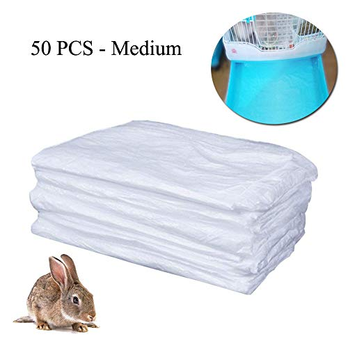 TESLUCK Disposable Rabbit Cage Liner, Plastic Guinea Pig Cage Mat Film to Replace Diapers Suitable for Most Rabbit, Bunny, Hamster, Hedgehog & Small Animals Cage, Universal Toilet Film, 50PCS, 20×12