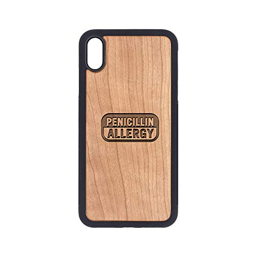 PENICILLIN Allergy - iPhone Xs MAX CASE - Cherry Premium Slim & Lightweight Traveler Wooden Protective Phone CASE - Unique, Stylish & ECO-Friendly - Designed for iPhone Xs MAX