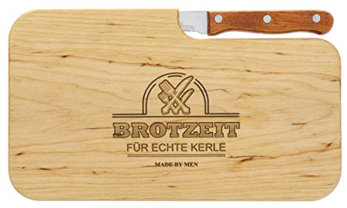 Brotzeitbrett Holz Erle Messer, Brotzeit für echte Kerle, Geschenk Männer, Schneidbrett Holz, Geschenkidee für Ihn