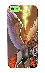 Excellent Iphone 5c Case Tpu Cover Back Skin Protector Valkyrie Marvel Pegasus Lightning Wings Drawing