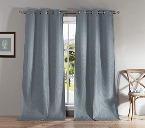 (Kelvin Montgomery Grommet Top Solid Linen Textured Blackout Room Darkening Window Curtain Pair Drape for Living Room & Bedroom Set of 2 Panels, 38