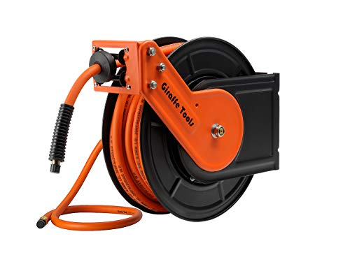Giraffe Retractable Air-Hose-Reel with 3/8 In. x 50 Ft Hybrid Air Hose,Auto Rewind Pneumatic Hose Reel,300PSI Heavy Duty Steel-Reel ()