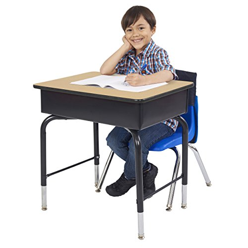 "ECR4Kids ELR-24103F-MP 24"" x 18"" Adjustable Open Front Student Desk with Metal Book Box, Maple and Black"