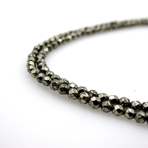 BRCbeads Gorgeous Faceted Pyrite Gemstone Round Loose Beads 4mm Approxi 15 inch 1 Strand per Bag for Jewelry Making (Pendant Pyrite Bead)