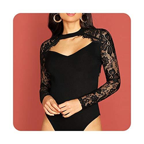 Black Eyelash Lace Panel Cut Out Front Bodysuit Stand Collar Long Sleeve Women Skinny Plain Bodysuits,Black,L ()