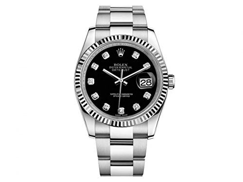 - Rolex Datejust Black Dial 18kt White Gold Bezel Automatic Stainless Steel Ladies Watch 116234BKDO