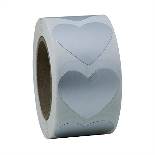 Hybsk Silver Heart Stickers 30mm Adhesive Labels 500 Per Roll (1 Roll)