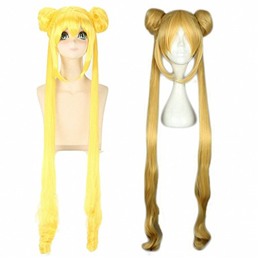 Ani·Lnc Long Curly Cosplay Wig+2 Ponytais High Temperature Fiber Synthetic Hair