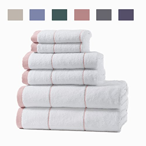 Home Fashion Designs 6-Piece Cotton Spa Bath Towel Set. Fade Resistant 100% Turkish Cotton. Includes Bath Towels, Hand Towels and Washcloths. Roka Collection (Salmon) by Home Fashion Designs (Image #2)