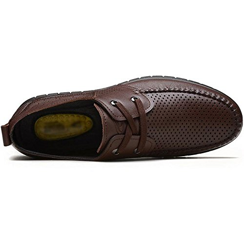 Leather da Low Marrone Uomini Estive Toe Foro Gli Nero Traspirante Brown True Stringate Uomo Top Scarpe per Round XBgqff