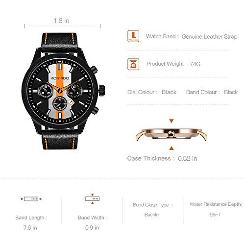 KONXIDO Mens Sports Watches Military Waterproof Big Face Analog Leather Band Wrist Watch Orange by KONXIDO (Image #6)