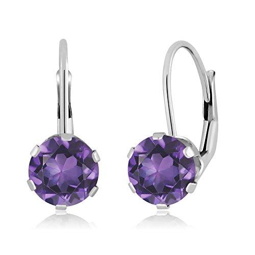 1.50 Ct Round Purple Amethyst 14K White Gold Earrings