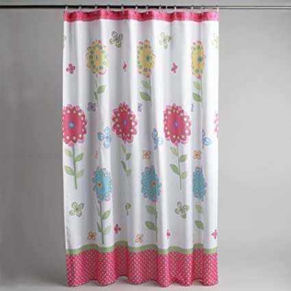 Image Unavailable Not Available For Color Garden Grows Fabric Shower Curtain Flowers Pink Blue Yellow Green