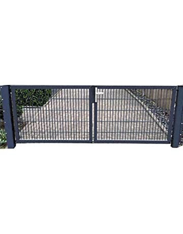 400x150 cm Schwarz mit 3 Schl/üsseln Tidyard Metall Gartentor Zauntor Hoftor Doppeltor Doppelfl/ügeltor Einfahrtstor