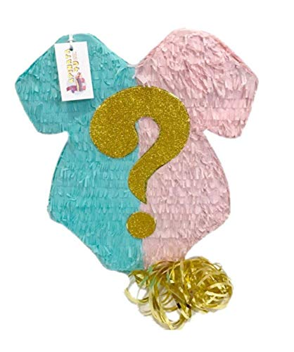 APINATA4U Baby Onesie Pull Strings Gender Reveal Pinata Teal & Blush Color -