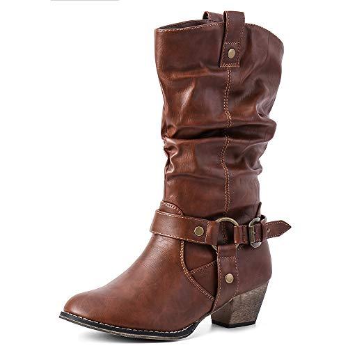 Moda Chics Womens Wild Mid Calf Western Cowboy Boots