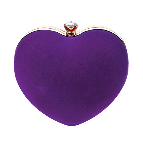 Handbag Prom Clutch Party Evening Bag Heart Messenger AiSi Purse Women's Handbag Suede Purple Shape Shoulder SwgXxzRq