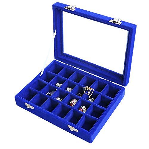 VANCORE Velvet Glass Jewelry Ring Display Organiser Box Tray Holder Earrings Storage Case (Blue)