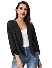 Kate Kasin Women Cardigans 3/4 Sleeve Sheer Shrug Cropped Bolero Cardigan