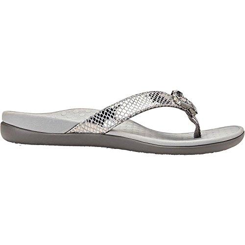Thong Jewel (Vionic Womens Tide Jewel Thong Sandal, Pewter Black Snake, 6 B(M) US)