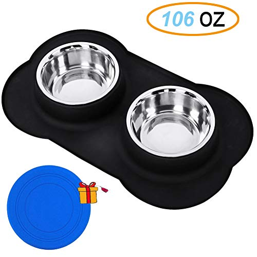 Cheap Stainless Steel Dog Bowls, Ruipower 106oz Large Dog Bowls with No Spill and Non-Skid Silicone Mat Pet Bowl Maze Feeder Double Dog Food Water Bowl, Set of 2 (Black) | With Free Dog Flying Toy