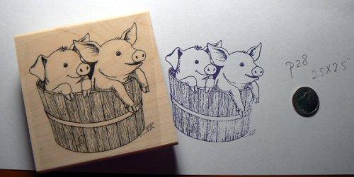 2 pigs in a barrel rubber stamp WM P28