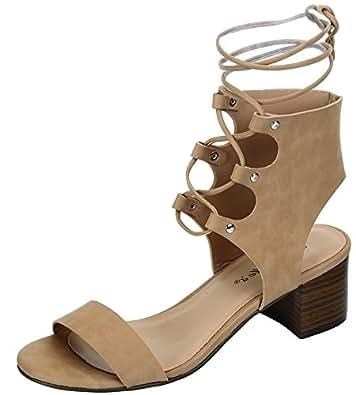 Breckelles Heidi-22 Gladiator Ankle Lace Tie Up Open Toe Block Kitten Heel Sandal Shoe Natural,7.5 B(M) US,Natural