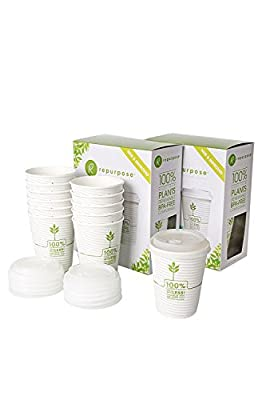 Repurpose 100% Plant Based Insulated Hot Cup and Lid Set 12, 12 oz