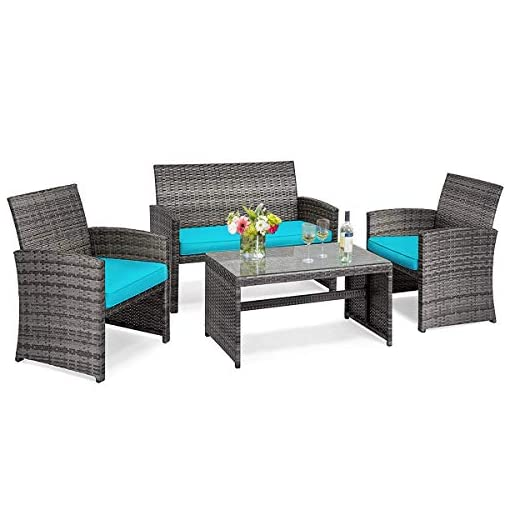 Garden and Outdoor Tangkula 4 PCS Wicker Patio Conversation Set, Outdoor Rattan Sofas with Table Set, Patio Furniture Set with Soft… patio furniture sets