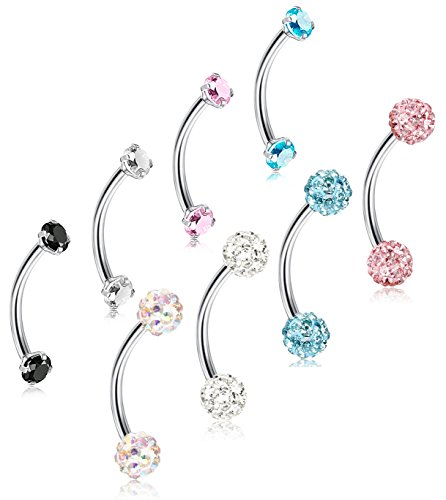 - ORAZIO 8Pcs 16G Stainless Steel Eyebrow Ear Navel Belly Lip Ring Body Piercing Jewelry 12mm