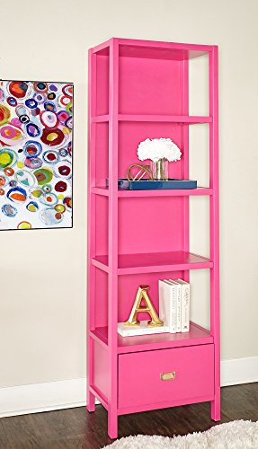 Linon KPG140RSPABU Bookcase Raspberry Pink