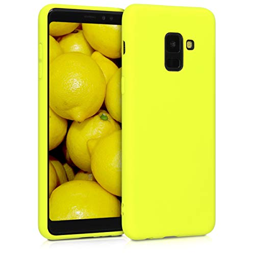 kwmobile TPU Silicone Case Compatible with Samsung Galaxy A8 (2018) - Soft Flexible Protective Phone Cover - Lemon Yellow
