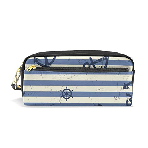 Holder Wheel Key Steering (Students Pencil Case Pouch Anchor Steering Wheel Blue Stripes PU Leatehr Organizer Pen Holder Box Women Purse Wallet Waterproof Large Capacity Hand Mini Cosmetic Makeup Bag)