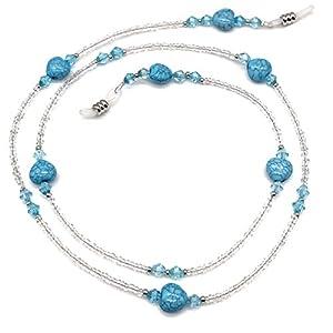 Heart Beaded Eyeglass Chain Sunglasses Holder Strap Eyewear Necklace (Blue)